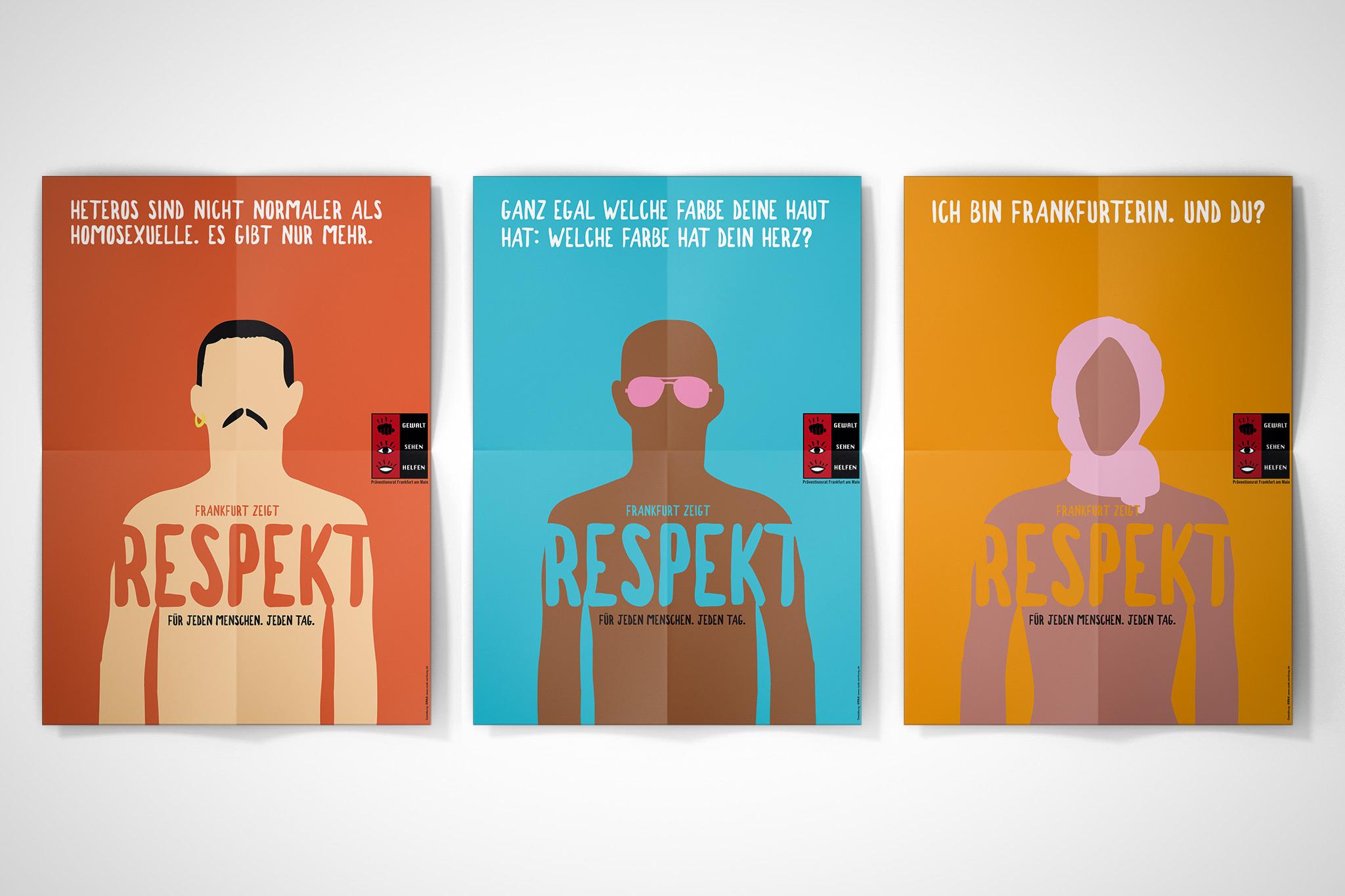 Respekt-Kampagne, Präventionsrat Frankfurt (2018) | Design: Johannes Willwacher (für OPAK)